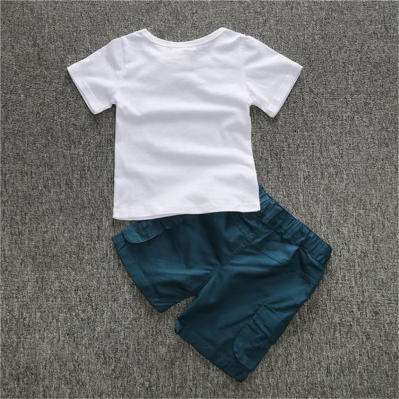 Children Clothing 1Set Kids Toddler Boys Letter Print T-shirt+Shorts Trousers Clothes Outfits Girls Clothes G1023