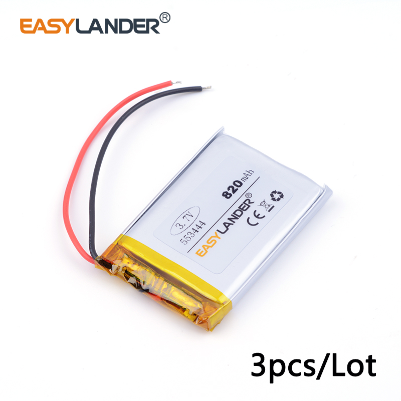 3pcs /Lot 553444 820mah 3.7v lithium Li ion polymer rechargeable battery MP3 MP4 MP5 small toys medical device Watch PDA toys