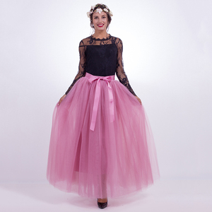 Image 3 - נשים של 7 שכבות 100CM ארוך טוטו טול חצאית אורך קומת קו טול מסיבת ערב חצאית חתונה כדור שמלת חצאית
