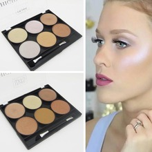 New Brand Highlighters Cosmetic 6 Color Pigment Minerals Brightener Face Shimmer Highlighter Powder Makeup Contour Palette