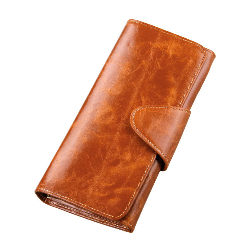 100% Oil Wax Cowhide Wallet For Women Long Designer Multi-card Wallet Holder Women Leather Genuine Purse Bag Carteira Feminina
