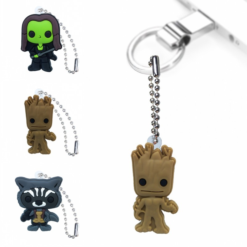 1PCS The Galaxy Of Guardians Keychain Organizer Key Holder Cartoon Figure Key Ring Children DIY Bag Clothes Decor Party Gifts