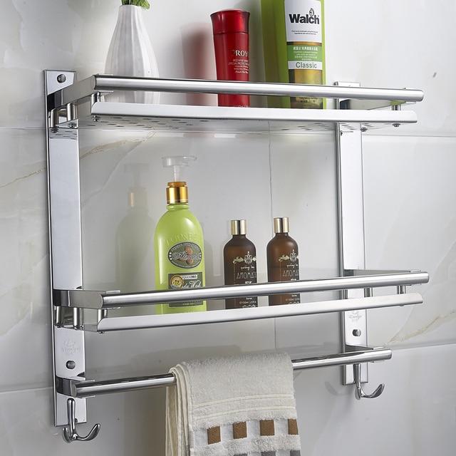 MTTUZK DIY Badezimmer Regale 304 Edelstahl Doppelschicht Waschmaschine  Einzigen Handtuchhalter Kosmetik Rack Bad Zubehör