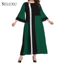 Seluxu 2019 Winter Plus Size Dress Patchwork Long Sleeve Women Geometric Casual Ankle-Length