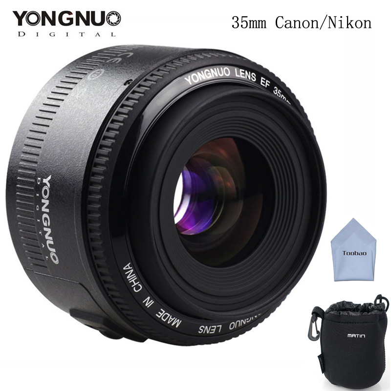 YONGNUO 35mm YN35mm F2 Lens 1:2 AF / MF Wide-Angle Fixed/Prime Auto Focus Lens For Canon Nikon Camera