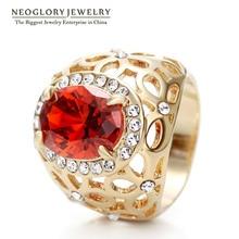 Neoglory светильник из желтого золота с цирконием роскошные свадебные модные большие кольца с камнем для женщин ювелирные изделия подарок на день рождения Новинка QC4