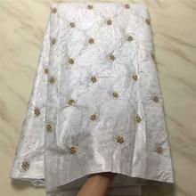 Blesing white African bazin getzner Beautiful bazin riche fabric beaded bazin riche getzner with rhinestones
