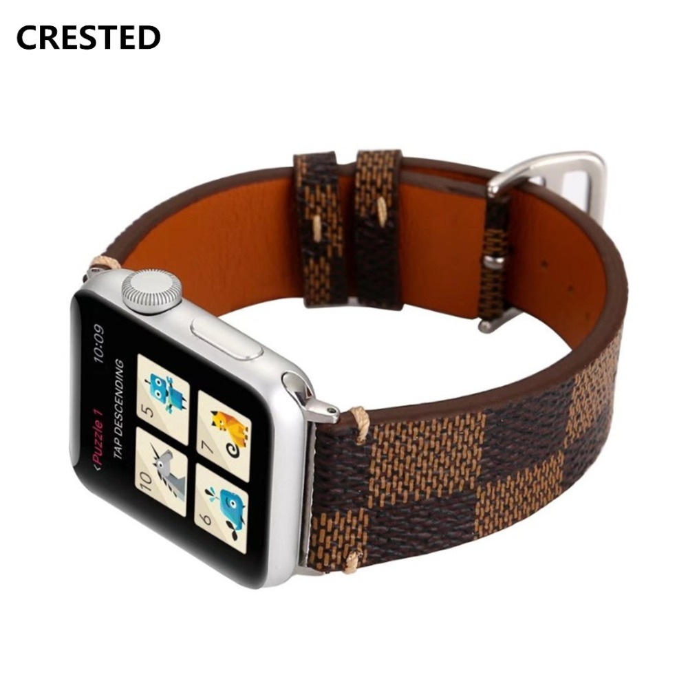 CRESTED Genuine leather Loop Strap For Apple Watch Band 42mm/38mm iwatch series 3 2 1 sport Wrist Bracelet watchband Belt correa цена