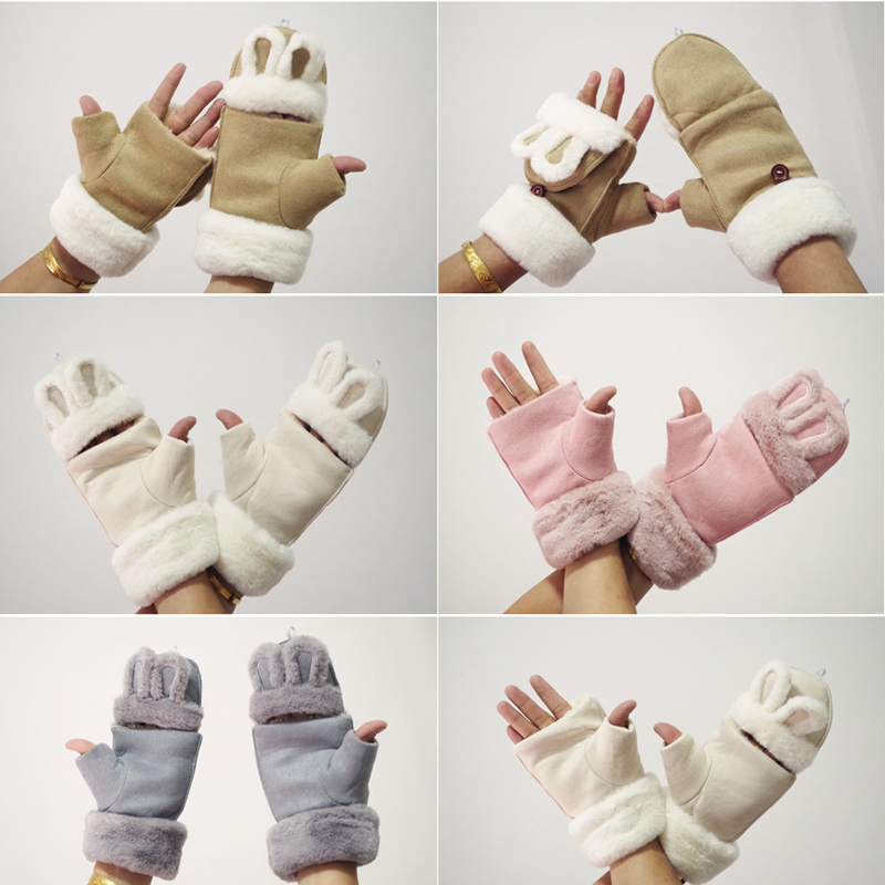 Flip Cover Winter Gloves Double-layer