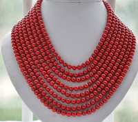 ddh002446 8strands Real 6MM round red coral bead necklace 16 22inch 28% Discount A0510