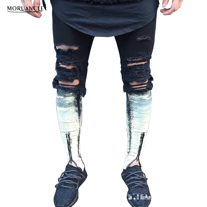 MORUANCLE Ripped Patchwork Zipper Jeans Trousers Men Skinny Distressed Slim Famous Brand Designer Biker HipHop Denim Joggers 2017 fashion patch jeans men slim straight denim jeans ripped trousers new famous brand biker jeans logo mens zipper jeans 604