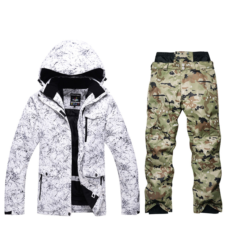 New men's ski suit windproof waterproof winter high quality ski jacket + ski pants men -30 degrees warm to increase size S-XXXL цены