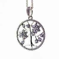Family Tree Necklace 925 Sterling Silver Clear Cz Pendant 90cm Chain Necklaces For Women Fine Jewelry