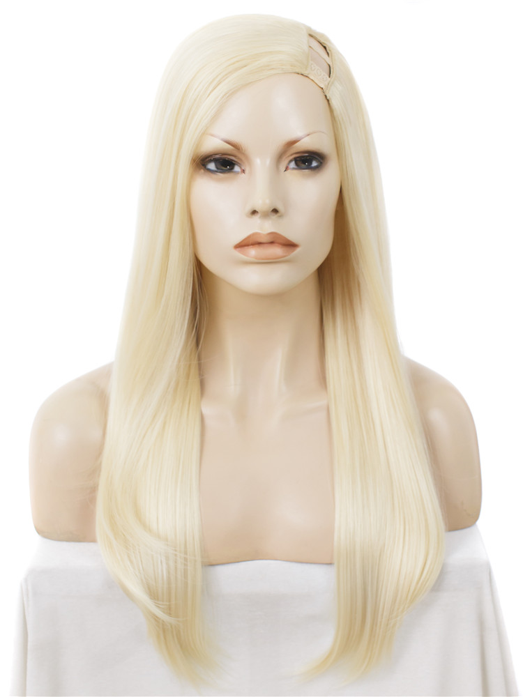 Imstyle Straight blonde U Part Synthetic wigs For Women cosplay 24 inches heat resistant Glueless silk hair 613