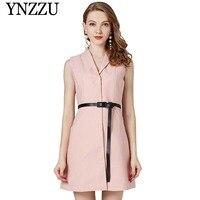 Brand 2019 Spring Elegant Sleeveless Blazer Dress Women Wool Pink Sashes OL Work Dresses Female Slim Short Dress AO851