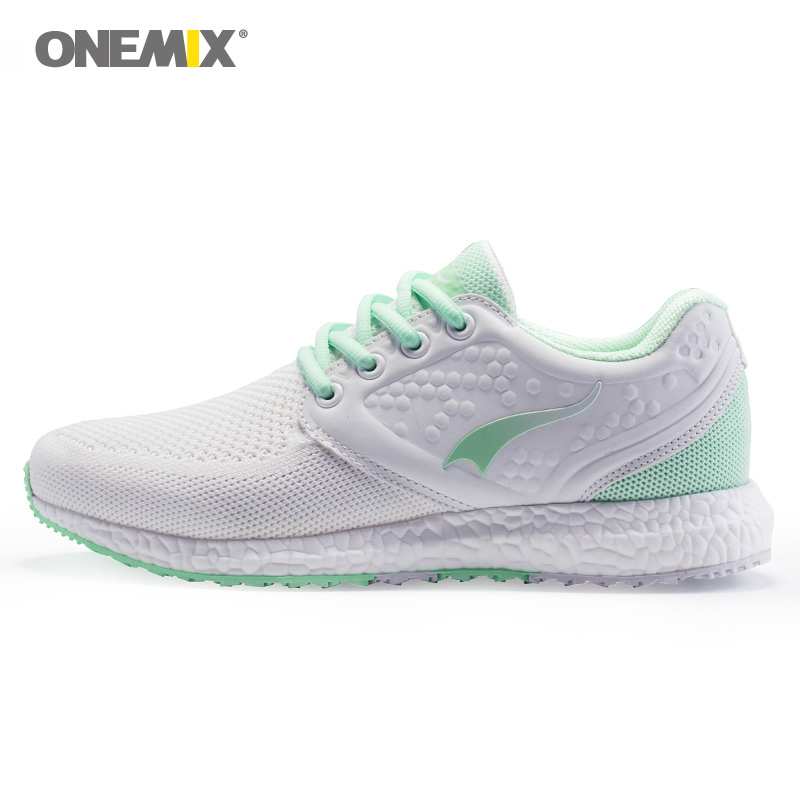ONEMIX Woman Running Shoes for Women Knit Mesh Breathable Athletic Trainers Sports Shoe Jogging White Outdoor