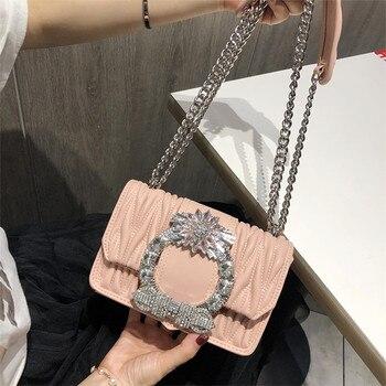 Fashion Women Pink Sheepskin Feel Handbags Diamonds Chains Hand Bag Flap Shoulder Messenger Crossbody Bags