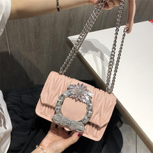 Fashion Women Pink Sheepskin Feel Handbags Diamonds Chains Hand Bag
