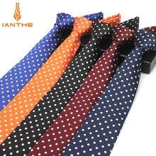 Модный галстук в синий горошек, 8 см., галстук для мужчин, красные свадебные галстуки на шею, мужские классические галстуки для бизнеса, вечерние галстуки, аксессуары, галстук