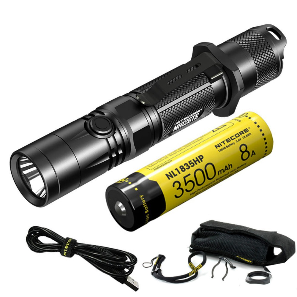 Free Shipping Nitecore MH12GTS 1800 Lms USB Rechargeable LED Flashlight with High Performance 18650 Battery Outdoor