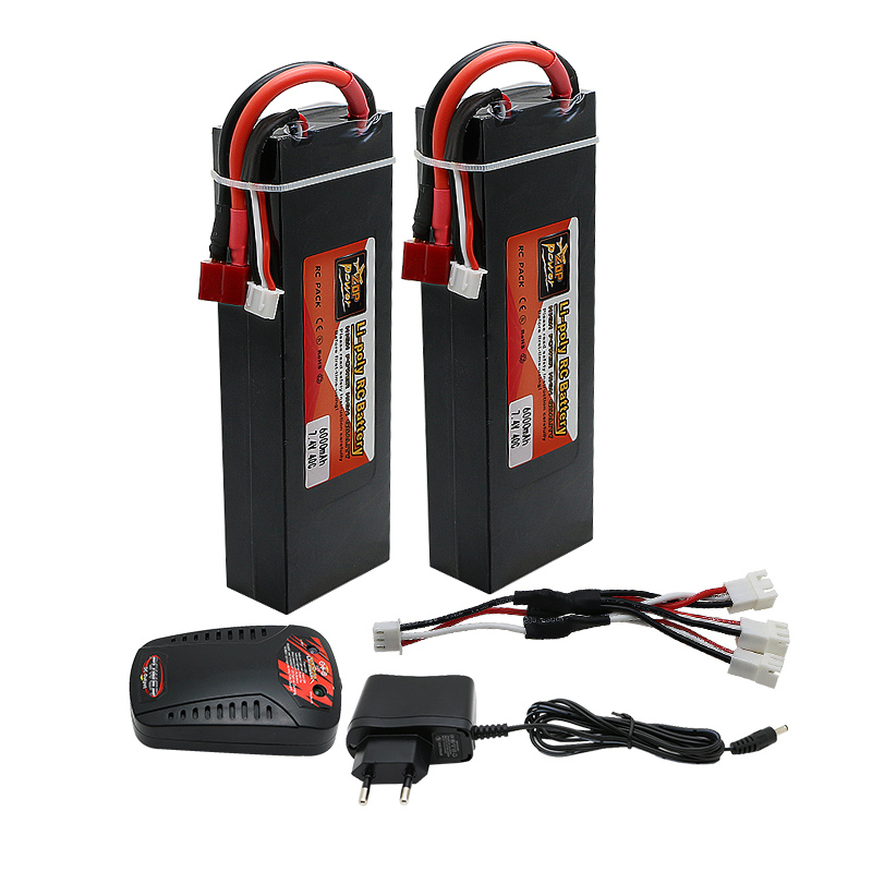 ФОТО 2pcs Original High Power 7.4V 6000mAh 40C 2S Lipo RC Battery Deans Plug + charger Li-polymer for RC Helicopter