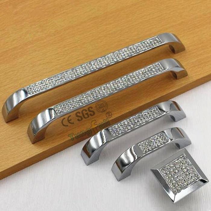 Modern Style Diamond Crystal Drawer Wardrobe Door Handle Cabinet Hardware Knobs