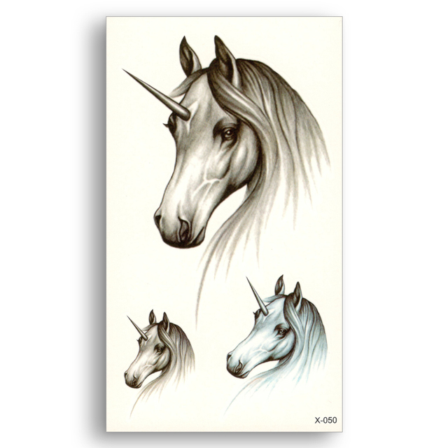 61753cb71 Unicorns Horses Decals Waterproof Temporary Sticker Women Men Water  Transfer fake tattoo beauty Makeup tools sex Body Art
