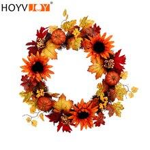 HOYVJOY Autumn Sunflower Maple Leaf Handmade Garland 24 Inch for Thanksgiving/Halloween/Christmas Decoration Free Shipping