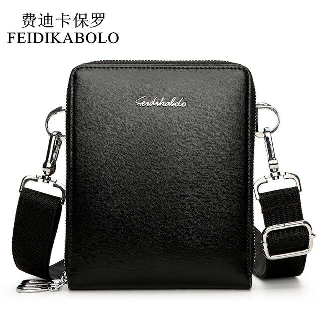 Feidikabolo Новая мода Для мужчин Сумки кожаная мужская сумка двойной молнии Для мужчин Курьерские сумки промо-маленькая сумка через плечо сумка человек