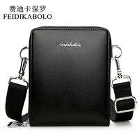 FEIDIKABOLO New Fashion Men Bags Leather Male Bag Double Zipper Men Messenger Bags Promotional Small Crossbody
