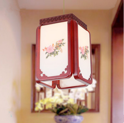 Chinese style handmade red wood art Pendant Lights White acryl lampshade E27 LED lamp for corridor&stairs&cafe&pavilion MF036