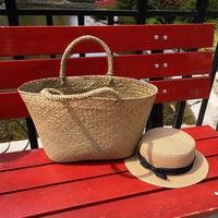 Simple Straw Bag Summer Beach Handbag Women Japanese Causal Open Travel Shopping Basket Bag Large Capacity