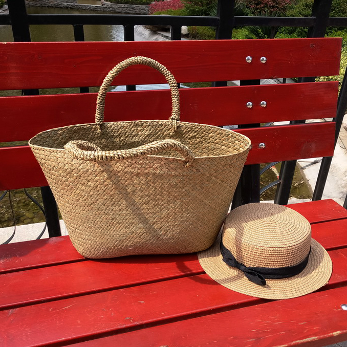 Simple Straw Bag Summer Beach Handbag Women Japanese Causal Open Travel Shopping Basket Bag Large Capacity Woven Shoulder Bags hand straw tote handbag summer sunflower woven beach bag fashion large capacity women shopping bag patchwork flower straw bags