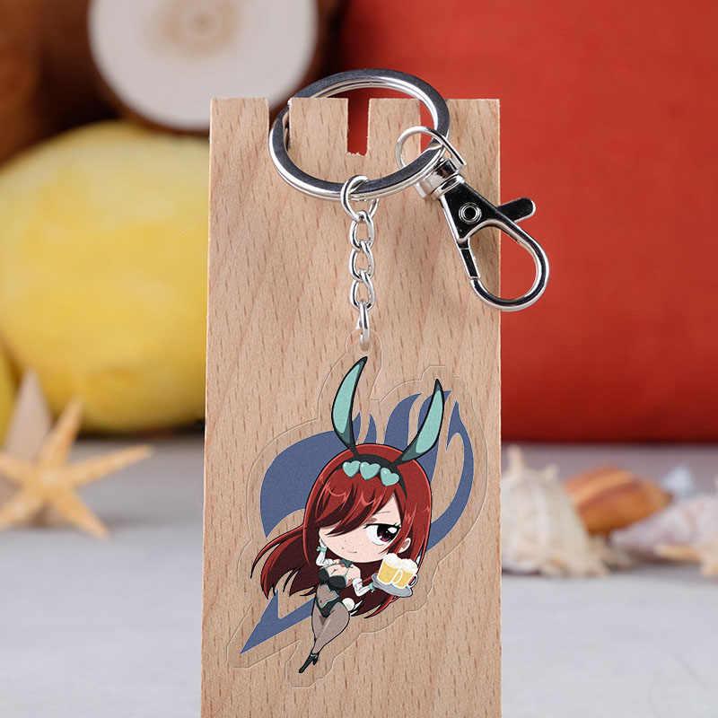 Dessin animé fée queue porte-clés dessin animé Figure Lucy heureux chat Kana Alberona acrylique pendentifs porte-clés