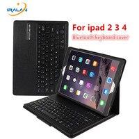 Para A Apple iPad 2/3/4 9.7 polegada Magneticamente Destacável ABS Portfolio Teclado Bluetooth Folio PU Caso Capa de Couro + Caneta + filme