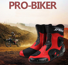 Pro-Biker Speed A004 super Leather Motorcycle Racing Boots Motorbike Motor cross Road Riding mid-calf Boots BPA04