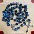 8mm blue glass beads religious rosary necklace, catholic rosary, pattern bead rosary with alloy cross and centerpiece