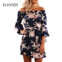 ELSVIOS Sexy Off Shoulder Slash Neck Office Dress 2017 Summer Floral Print Beach Dress Casual Flare