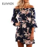 ELSVIOS Sexy Off Shoulder Slash Neck Office Dress 2017 Summer Floral Print Beach Dress Casual Flare