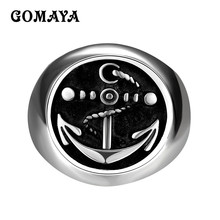 GOMAYA Titanium Steel Vintage Cool Male Ring Punk Rock Jewelry Accessories Anel Cocktail vnox rock punk men s cocktail ring vintage silver tone rings for men anel masculino turkish male jewelry