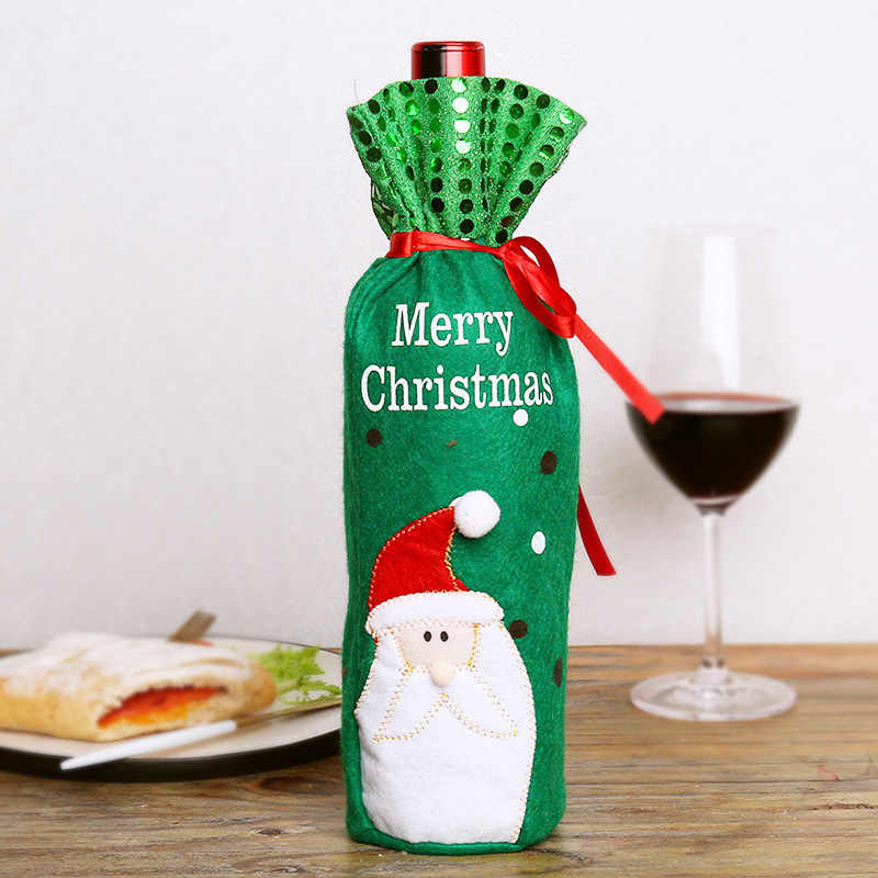 New Giáng Sinh rượu vang đỏ chai túi túi Màu Xanh Lá Cây Santa Claus Snowman Cosplay Chai Túi Giáng Sinh Tối Đảng Trang Trí Quà Tặng TÚI