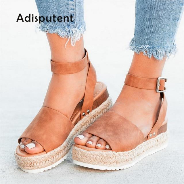 Giày Sandal Nữ Giày Đế Xuồng Máy Bơm Cao Gót Mùa Hè 2019 Xỏ Ngón Chaussures Femme Nền Tảng Dép Sandalia Feminina
