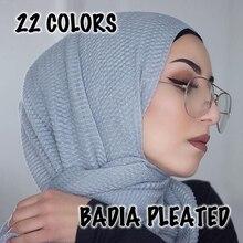 10pcs/lot women fashion solid ridged hijabs scarf pleated islam shawl head wraps soft long muslim crimpled viscose plain hijab