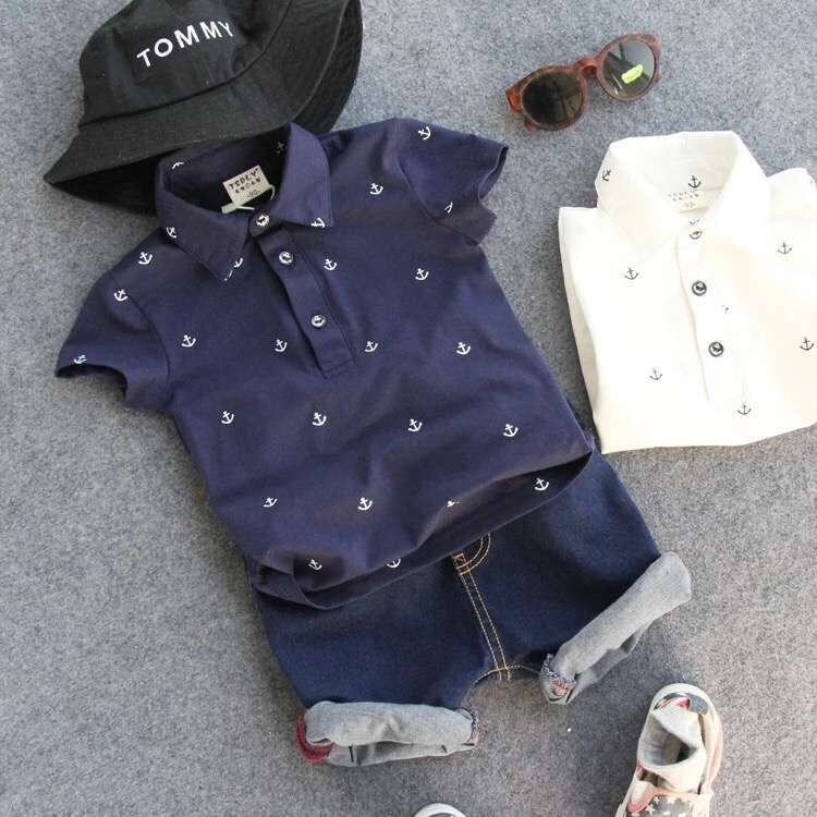 2016 new style POLO shirt jeans Boy suit gentleman handsome Street boy handsome boy and summer gentleman shirt strap 2 suit factory direct