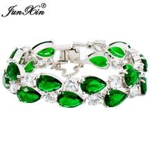 Women Bracelets Charm 10KT White Gold Filled Green Lady's Gift Bracelet HOT Sale BR0335