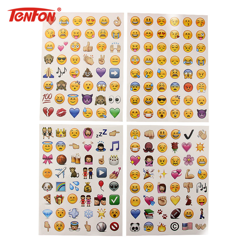4 Sheets/Set Classic Face New Emoji Stickers 48 Die Cut Sticker For Notebook Fun Message Funny Creative Stationery Sticker one sheet 48 stickers hot popular sticker 48 emoji smile face stickers for notebook message twitter toy large viny instagram