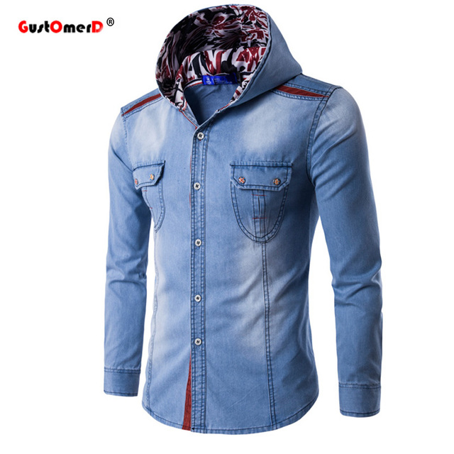 GustOmerD Новая Мода С Капюшоном Джинсовые Рубашки Мужчин Случайные Рубашки С Длинным Рукавом Хлопок Slim Fit Толстовки Мужские Джинсы Рубашки