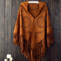 European New Brand Women's Winter Poncho Vintage Blanket Women's Triangle Sunflower Shawl suede Scarf Poncho A657
