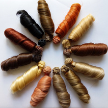 1 ШТ. Розничная 15 СМ Синтетических Кукла Кудри Естественные Цвета BJD Парик Волос Вьющиеся Волосы Для Куклы DIY