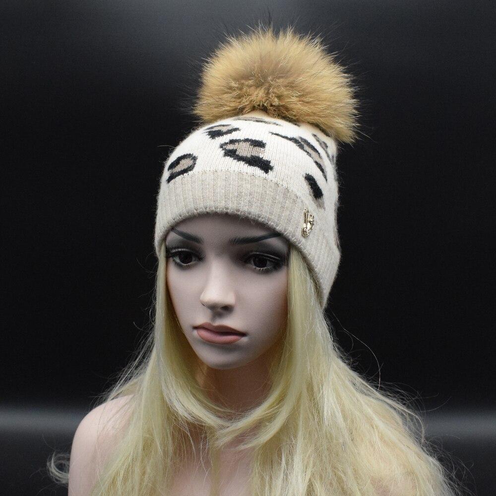 22CM Super big Natural Raccoon Fur Pom Pom Hat High quality thick wool bonnet Fashion leopard